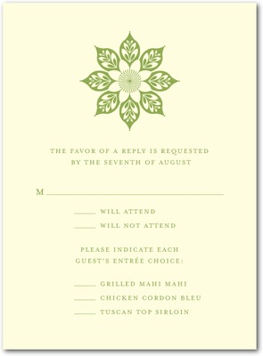Abstract Elegance Thermography Wedding Response Cards TH Celery