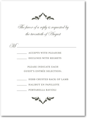Fanciful Monogram Thermography Wedding Response Cards TH Charcoal