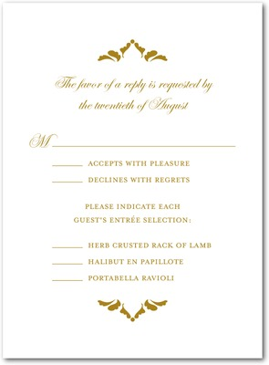 Fanciful Monogram Thermography Wedding Response Cards TH Gold