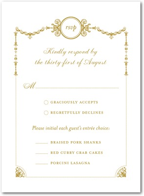 Draped Elegance Thermography Wedding Response Cards TH Gold