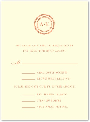 Simple Sundial Thermography Wedding Response Cards Mandarin