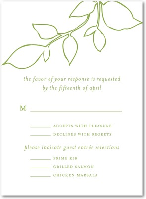 Darling Leaves Thermography Wedding Response Cards TH Celery