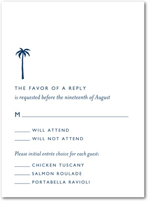 Seaside Palms Thermography Wedding Response Cards Navy