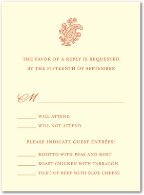 Paisley Bliss Thermography Wedding Response Cards TH Mandarin