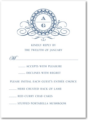 Fine Monogram Thermography Wedding Response Cards TH Navy