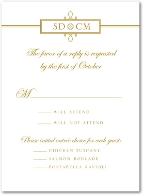 Simple Loops Thermography Wedding Response Cards TH Gold