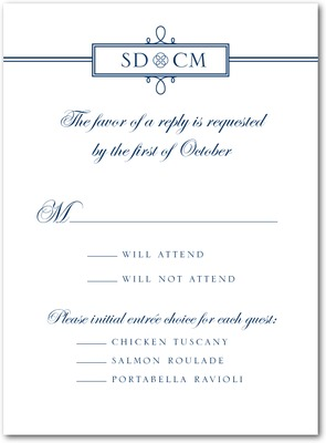 Simple Loops Thermography Wedding Response Cards TH Navy