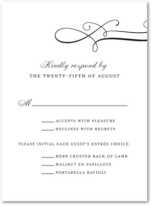 Luxe Lines Thermography Wedding Response Cards Black