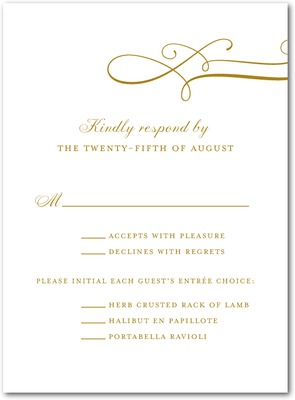 Luxe Lines Thermography Wedding Response Cards TH Gold