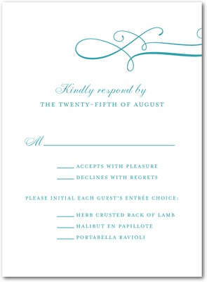 Luxe Lines Thermography Wedding Response Cards TH Robins Egg