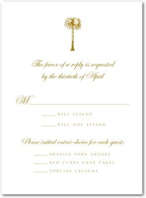 Posh Palm Thermography Wedding Response Cards TH Gold
