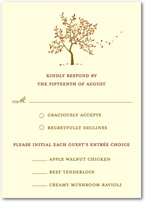 Autumn Afternoon Signature Ecru Wedding Response Cards Sienna Brown