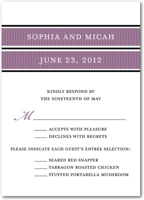 Picturesque Bands Signature White Wedding Response Cards Deep Plum