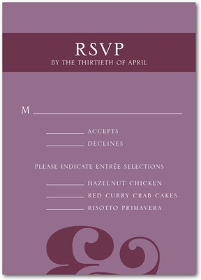 Typed Together Signature White Wedding Response Cards Deep Plum