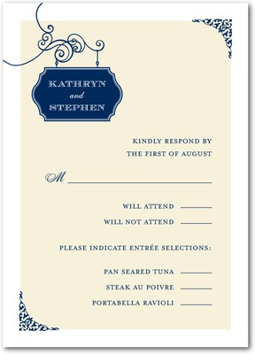 Wedding Sign Signature White Textured Response Cards Navy