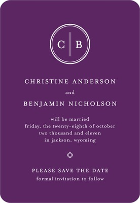 Solid Monogram Save The Date Magnets Amethyst