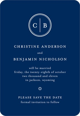 Solid Monogram Save The Date Magnets Navy