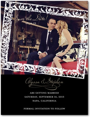 Monogram Masterpiece Save The Date Postcards Black