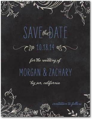 Chalk Celebration Save The Date Postcards Hydrangea