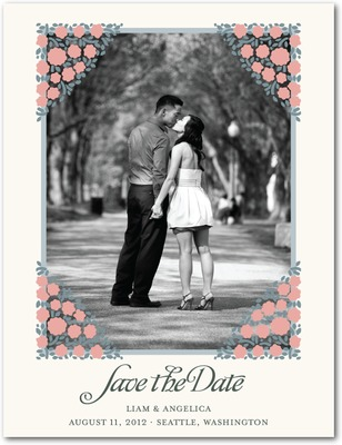 Blooming Corners Save The Date Postcards Taffy