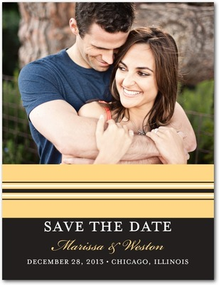 Monogram Stripe Save The Date Postcards Cream