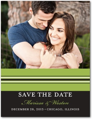 Monogram Stripe Save The Date Postcards Meadow