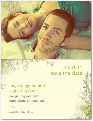 Rustic Garden Save The Date Postcards Chartreuse