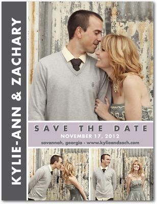 Chic Couple Save The Date Postcards Boysenberry