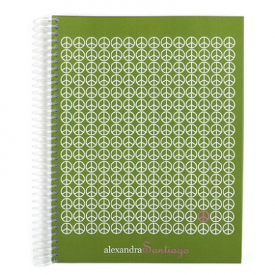 Small Peace Signs Monthly Notebook Notebooks Green
