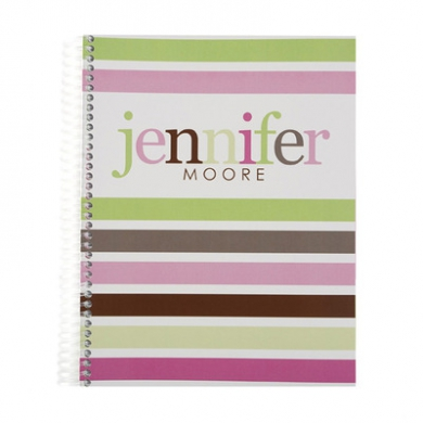 Taffy Stripes Monthly Notebook Notebooks Pink