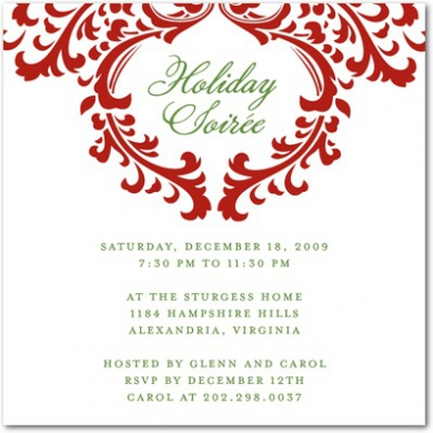Stylish Soire Holiday Party Invitations Red