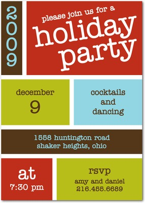 Block Bash Holiday Party Invitations Merry Red