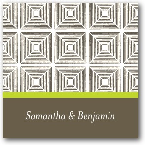 Kaleidoscope Squares Personalized Gift Tag Stickers Bright Green