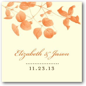 Natural Wildflower Personalized Gift Tag Stickers Autumn Orange
