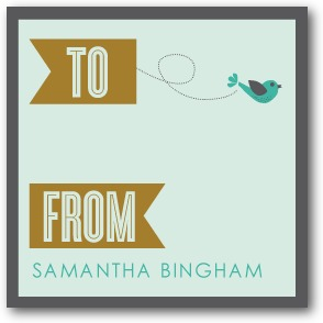 Little Bird Banner Personalized Gift Tag Stickers Aloe