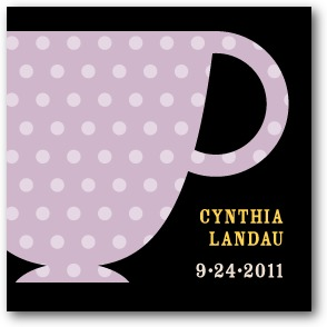 Charming Teacups Personalized gift tag stickers Black