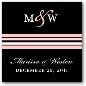 Monogram Stripe Personalized Gift Tag Stickers Soft Pink