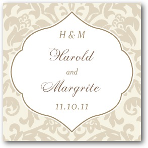 Moroccan Damask Personalized Gift Tag Stickers Linen