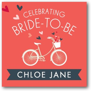 Bridal Bicycle Personalized gift tag stickers Coral