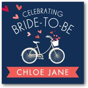 Bridal Bicycle Personalized gift tag stickers Stormy Blue