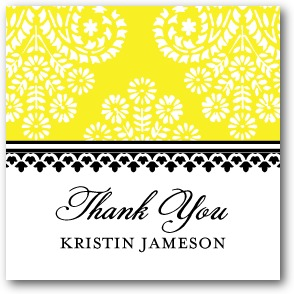 Paisley Damask Personalized gift tag stickers Sunny Yellow
