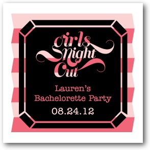 Diamond Night Personalized Gift Tag Stickers Medium Pink