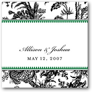 Toile Border Personalized Gift Tag Stickers Dark Green