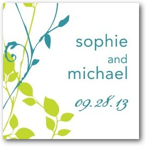 Natural Pair Personalized Gift Tag Stickers Bright Green