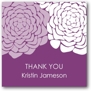 Royal Roses Personalized gift tag stickers Eggplant