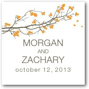 Fall Branch Personalized Gift Tag Stickers Orange