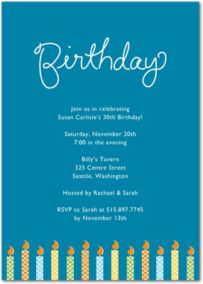 Birthday Candles Signature White Party Invitations Luxe Turquoise