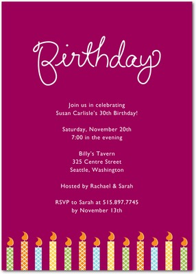 Birthday Candles Signature White Party Invitations Raspberry