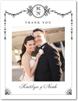 Framed Elegance Thank You Postcards Black