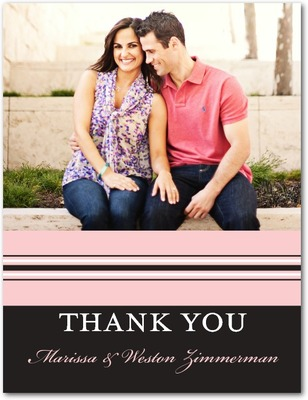 Monogram Stripe Thank You Postcards Soft Pink